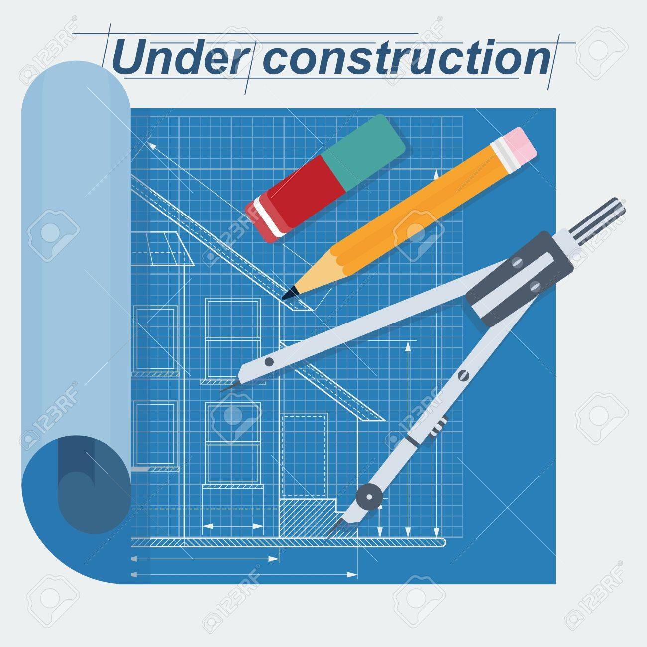 Vector construction blueprint technical drawing with pencil vector construction blueprint technical drawing with pencil eraser and pair of compasses flat malvernweather Images