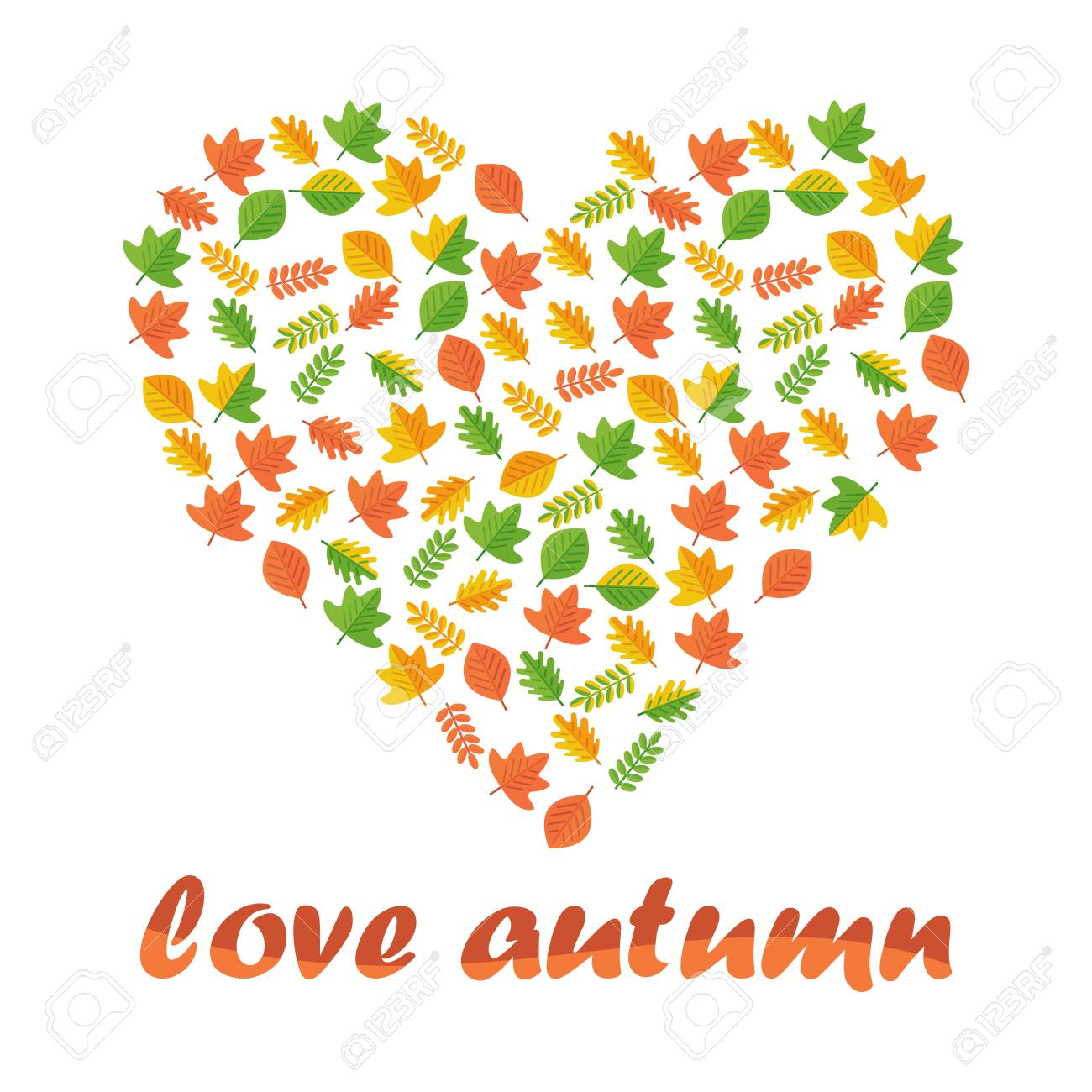 Vector heart of autumn leaves. Season fall. Elements for sites, advertising brochures, flayers, posters and info graphics. Flat cartoon vector illustration. Objects isolated on a white background. - 61773414