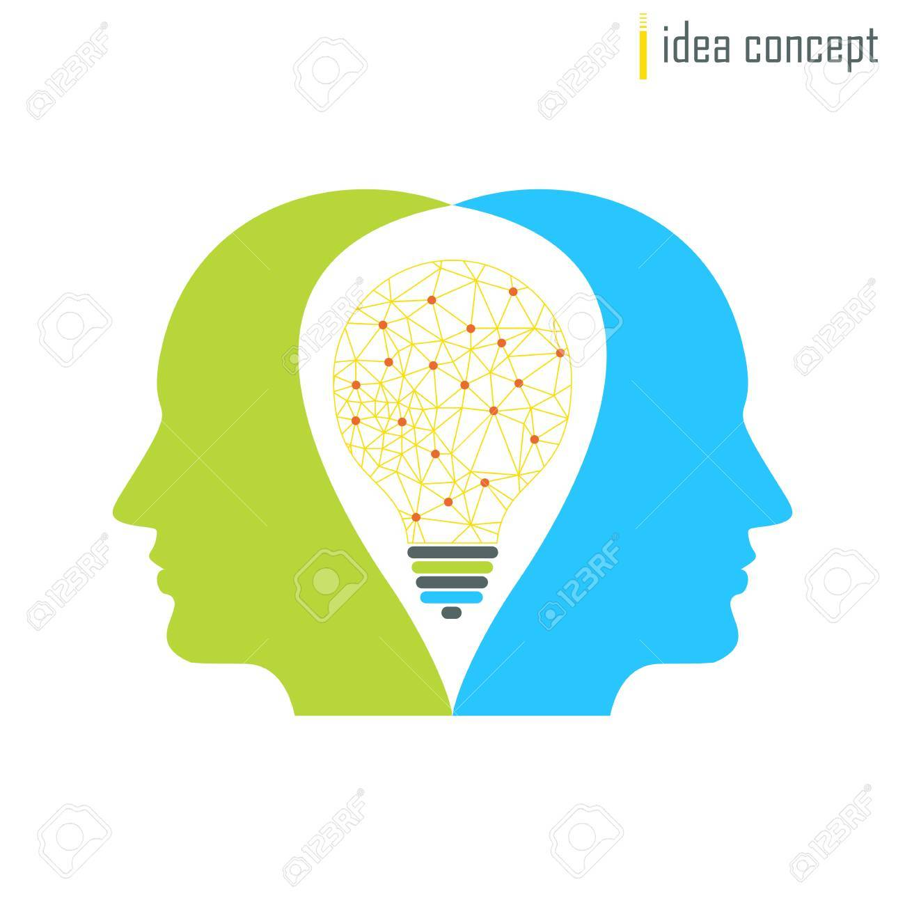 Vector Human Profile With Lamp. Connection Lines Icon. Innovation ...