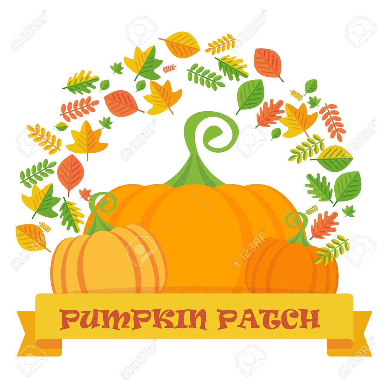 Vector Pumpkin Patch With Leaves Frame Template For Postcards Royalty Free Cliparts Vectors And Stock Illustration Image 63311997