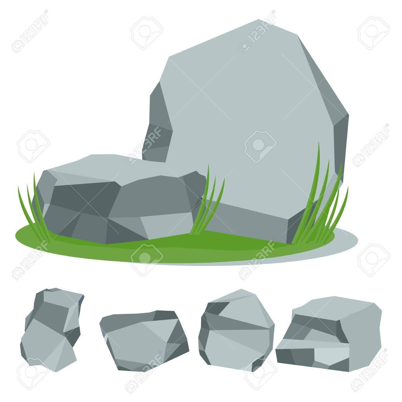 Piedras En La Hierba Conjunto De Piedras De Roca Ilustración De