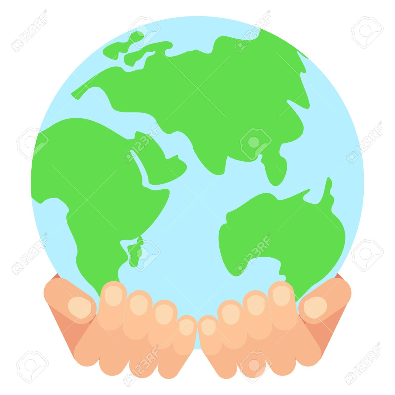 world hands save earth concept flat vector cartoon earth rh 123rf com Cupped Hands Vector world holding hands vector