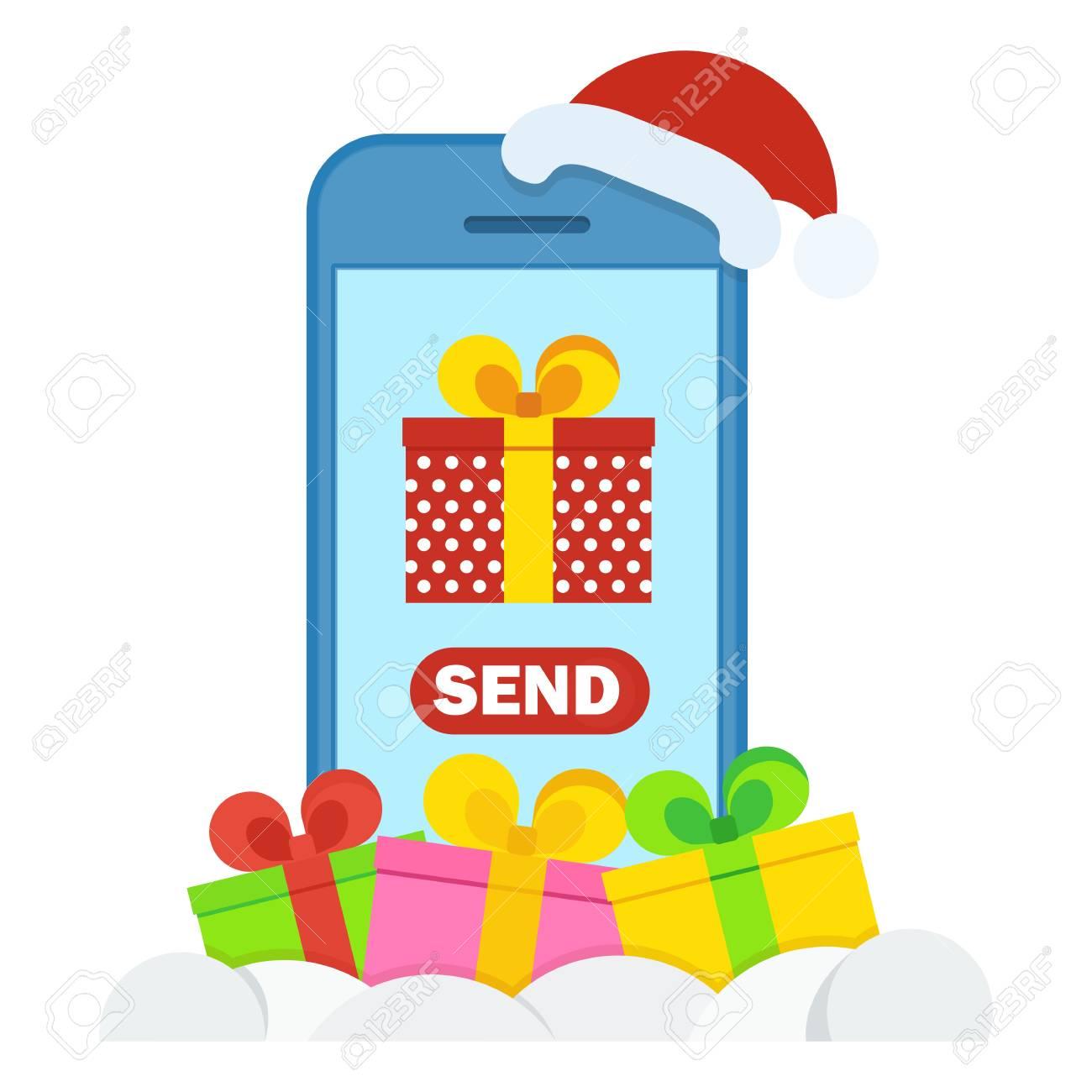 Felicitaciones Navidad Internet.Regalos De Navidad Cerca Del Telefono Mobilnog Concepto De Compras En Internet En Linea Felicitaciones Pedidos Y Compras A Traves De Internet
