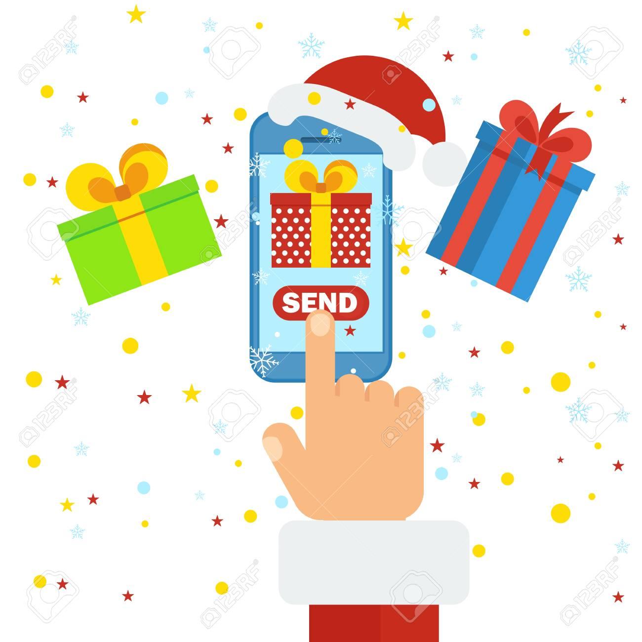 Felicitaciones Navidad Internet.Entrega De Regalos De Navidad Movil Concepto De Compras En Internet En Linea Felicitaciones Pedidos Y Compras A Traves De Internet Icono De