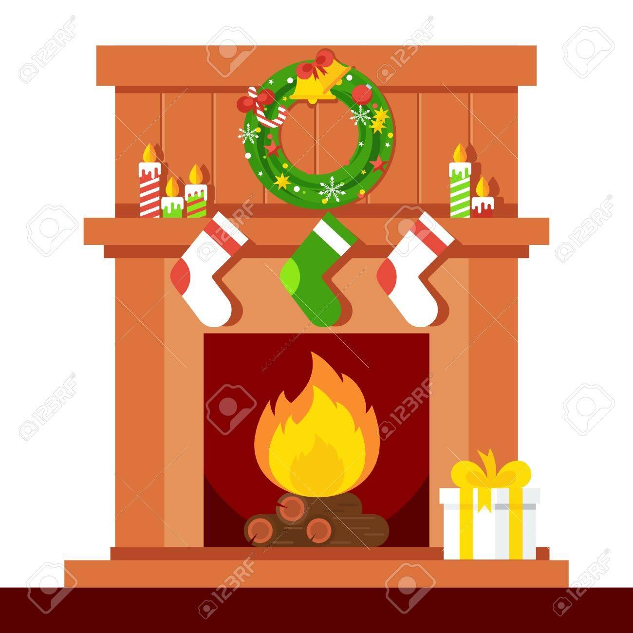 Dibujos Chimeneas De Navidad.Chimenea De Navidad Navidad Y Fuego Decoracion Del Hogar Interior Para La Celebracion Ilustracion De Dibujos Animados Plana Objetos Aislados En Un