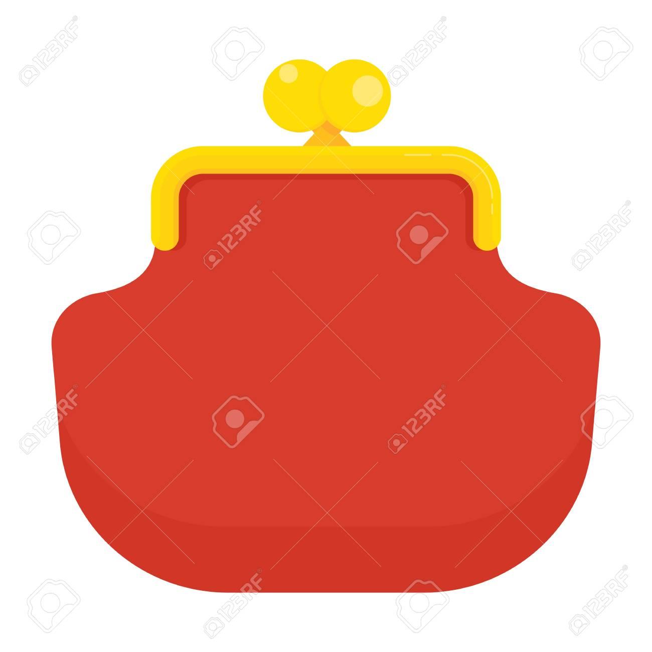 Dessin Porte Monnaie icône de porte monnaie rouge rétro. stockage de monnaie