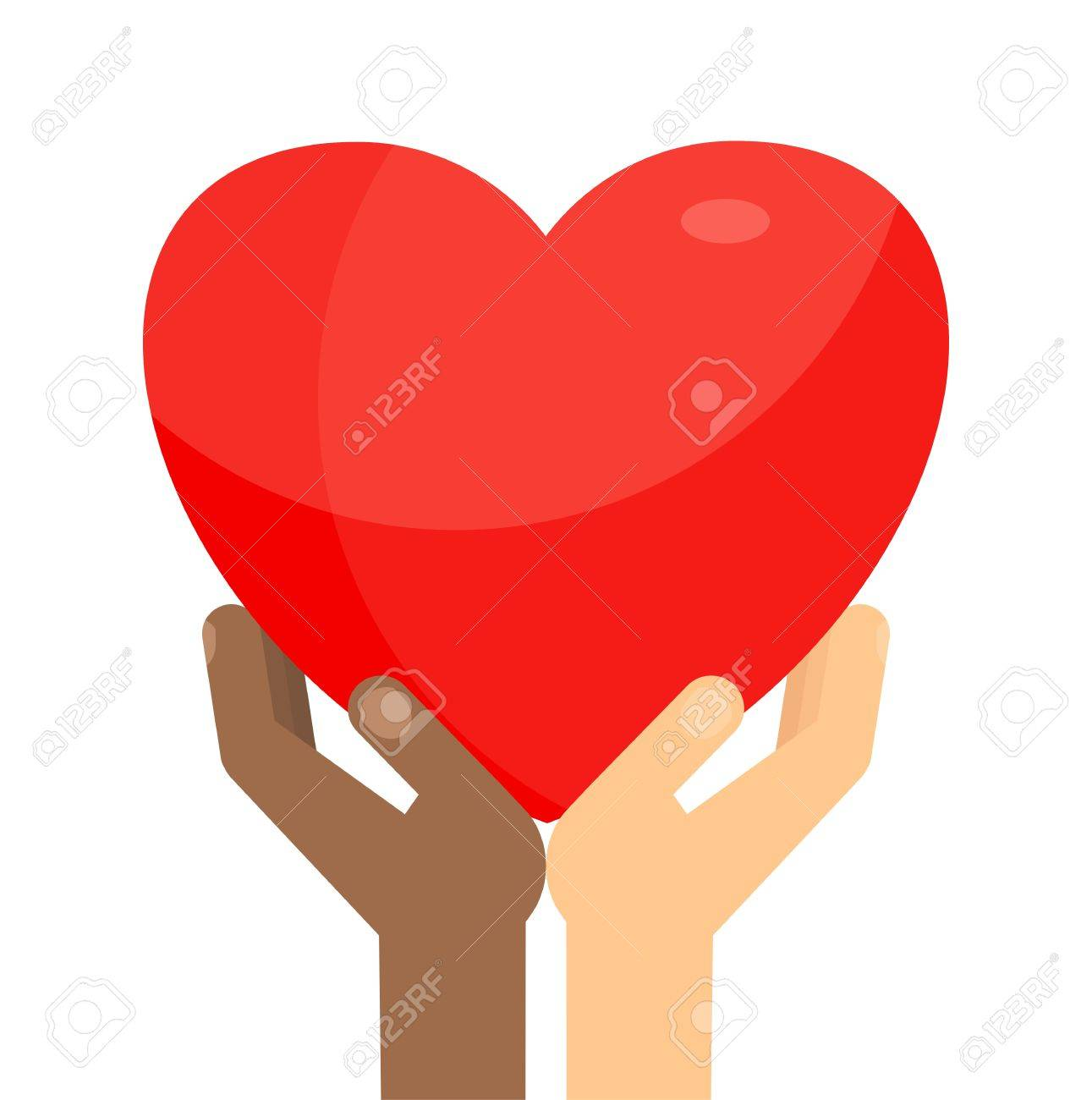 Afro american and white hands holding big red heart symbol of afro american and white hands holding big red heart symbol of love and kindness buycottarizona Gallery