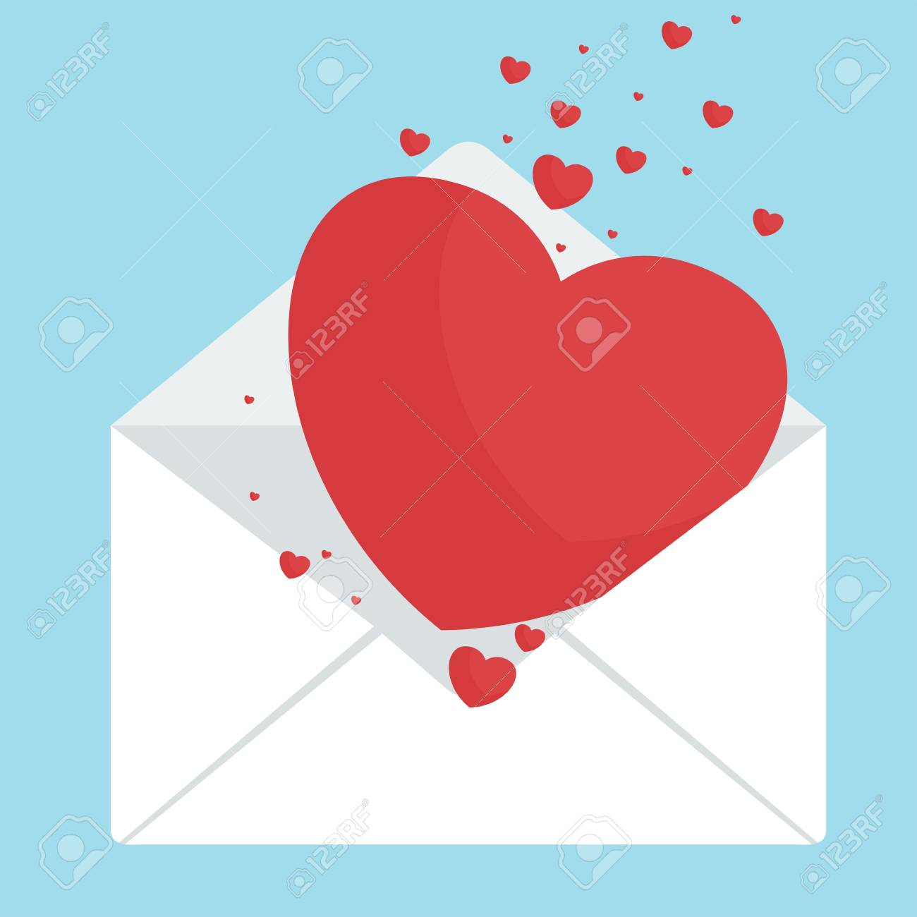 Envelope With Heart Greeting Cards For Valentines Day A Wedding