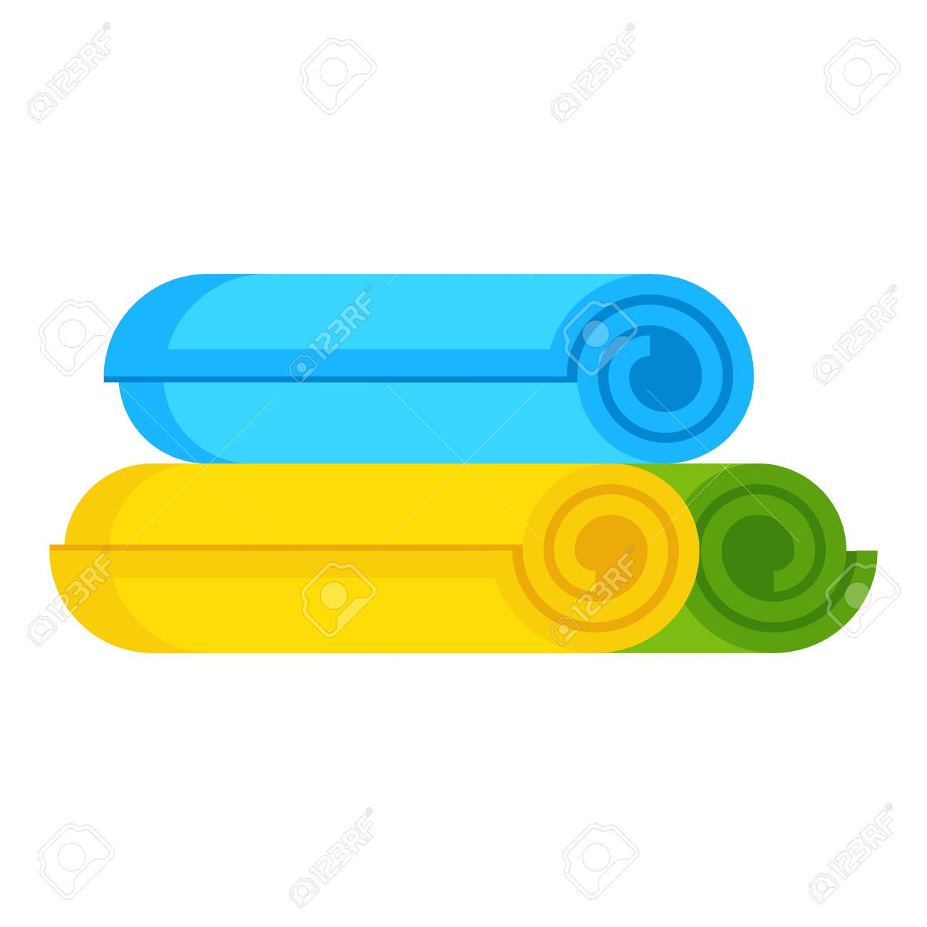 Set of rolled up colored towels. Hygiene, spa and fitness, swimming..