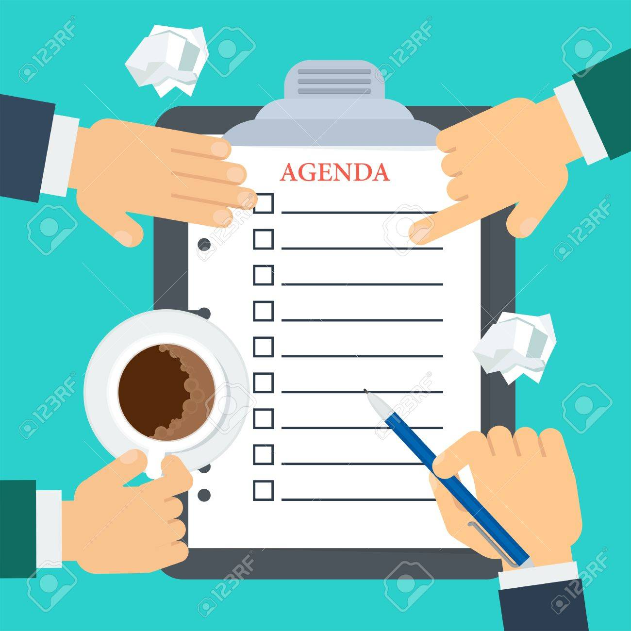 businessmen make up agenda daily routine schedule and planning