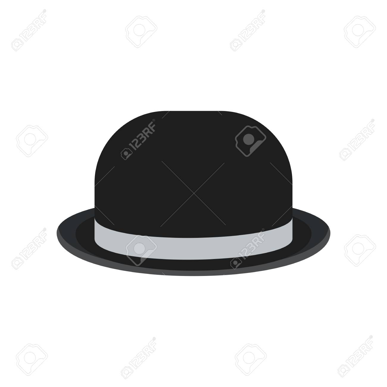 034b858fe83 Black retro vintage man bowler hat for gentlemen. Flat vector cartoon  illustration. Objects isolated