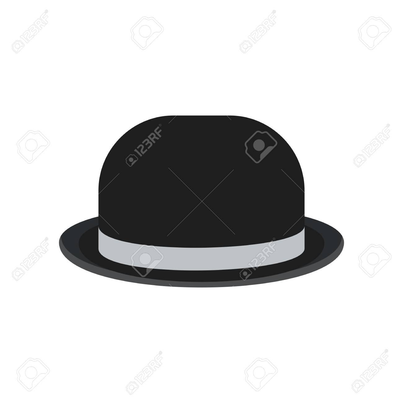 cd3e700ee Banque d'images - Chapeau melon homme vintage rétro noir pour messieurs.  Illustration de dessin animé de vector plate Objets isolés sur fond blanc