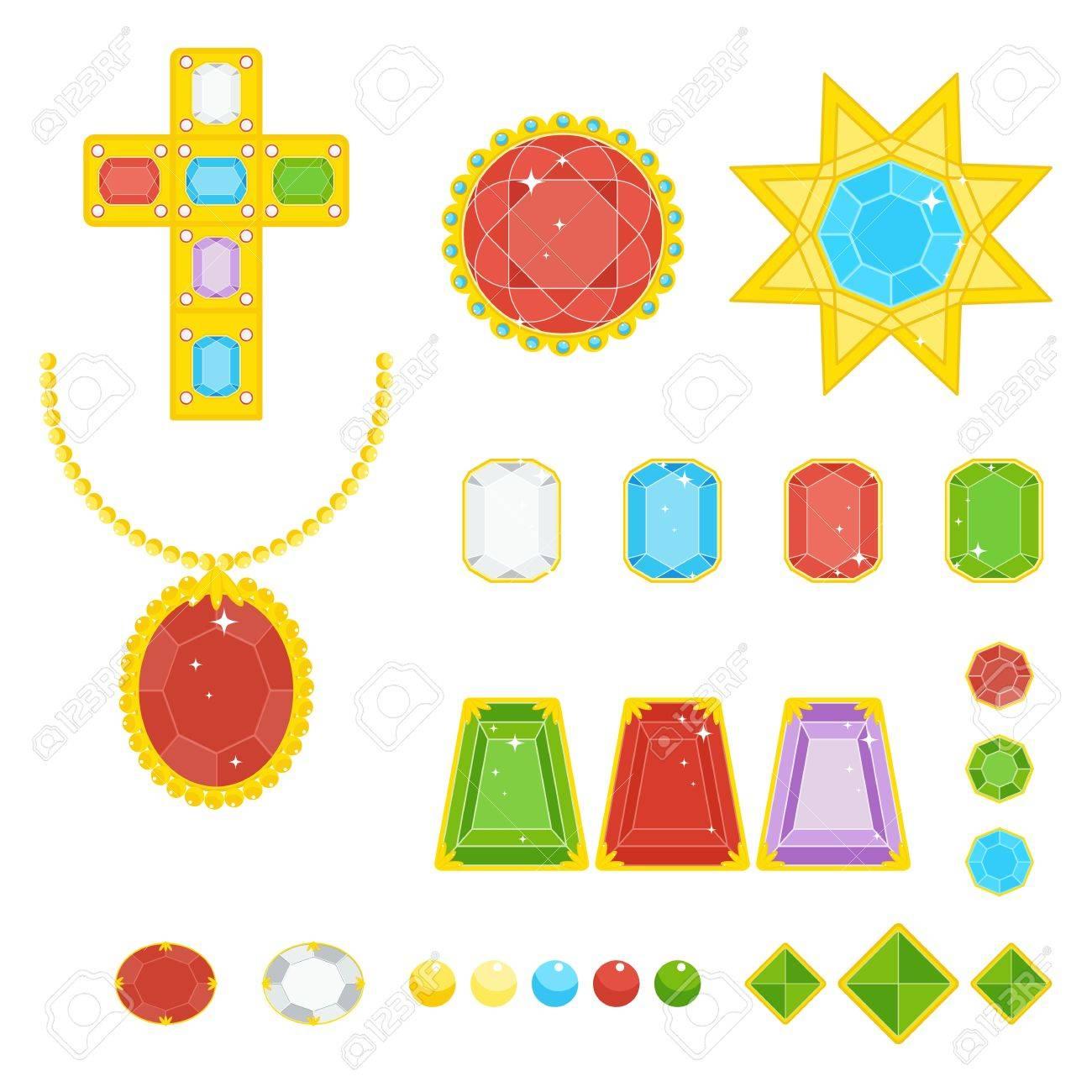 5a5a3561d3a8 Conjunto de joyas con piedras preciosas multicolores en marco de oro.  Ilustración de dibujos animados de vector plano. Objetos aislados en un  fondo ...