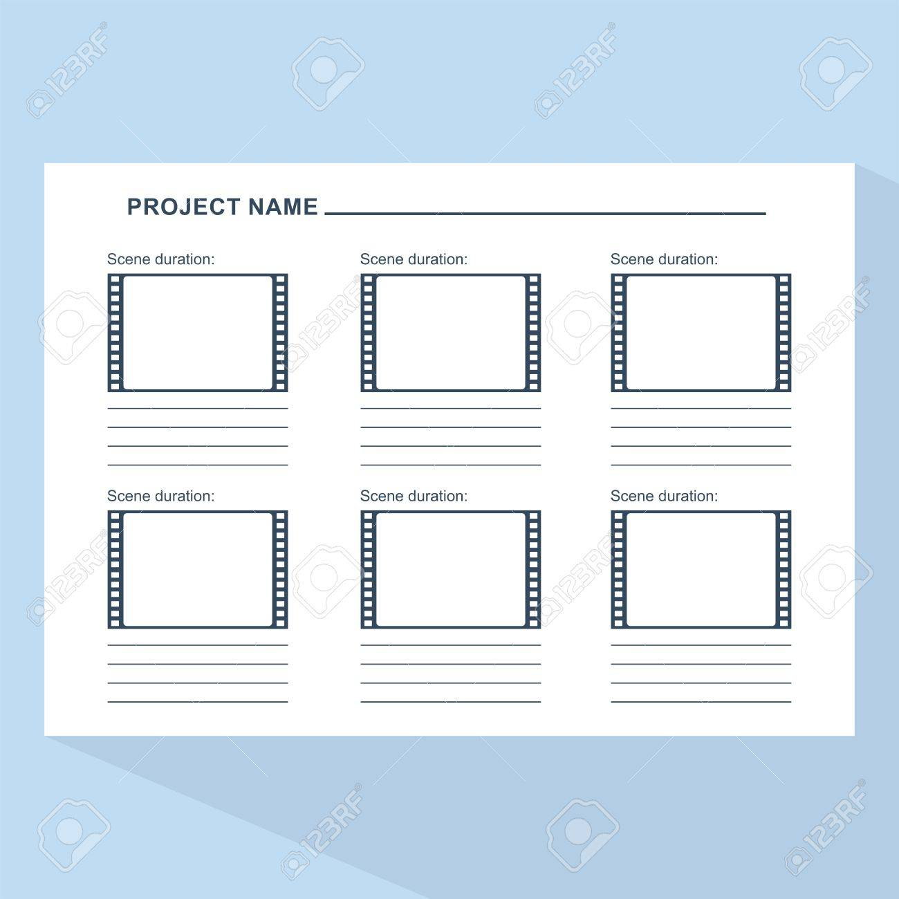 storyboard template in form of a film scenario for media production