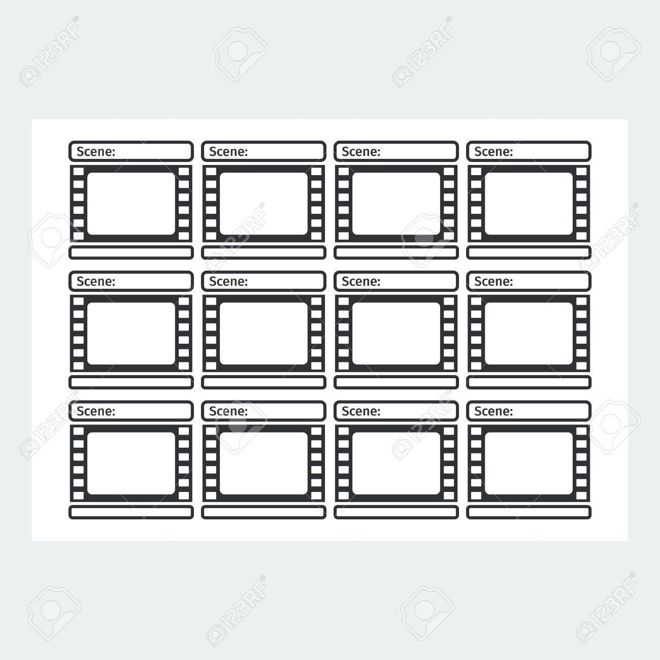 Modele De Storyboard Sous La Forme D Un Film Scenario Pour La Production Des Medias Illustration Vectorielle De Dessin Anime Plat Objets Isoles Sur Un Fond Blanc Clip Art Libres De Droits