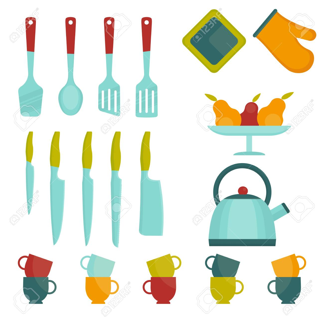 Set Of Bright Kitchen Utensils Kitchen Tools For Cooking Flat
