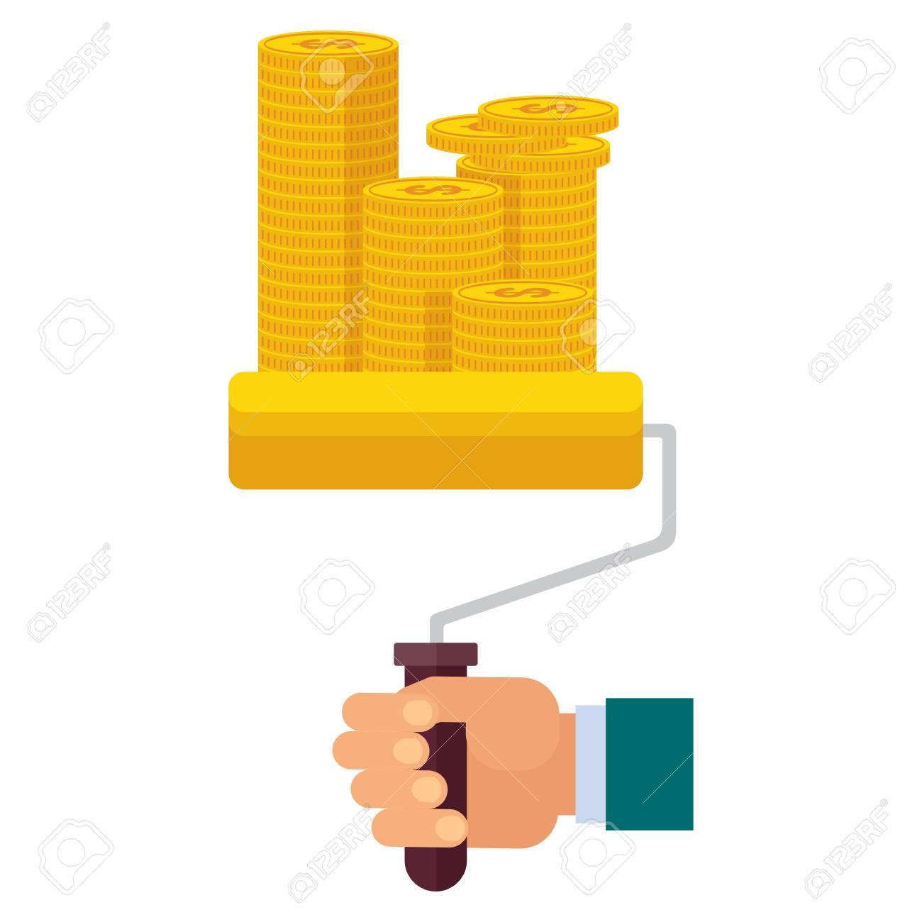 Handfarbenroller Malt Goldene Münzen Verdienen Sie Geld Konzept