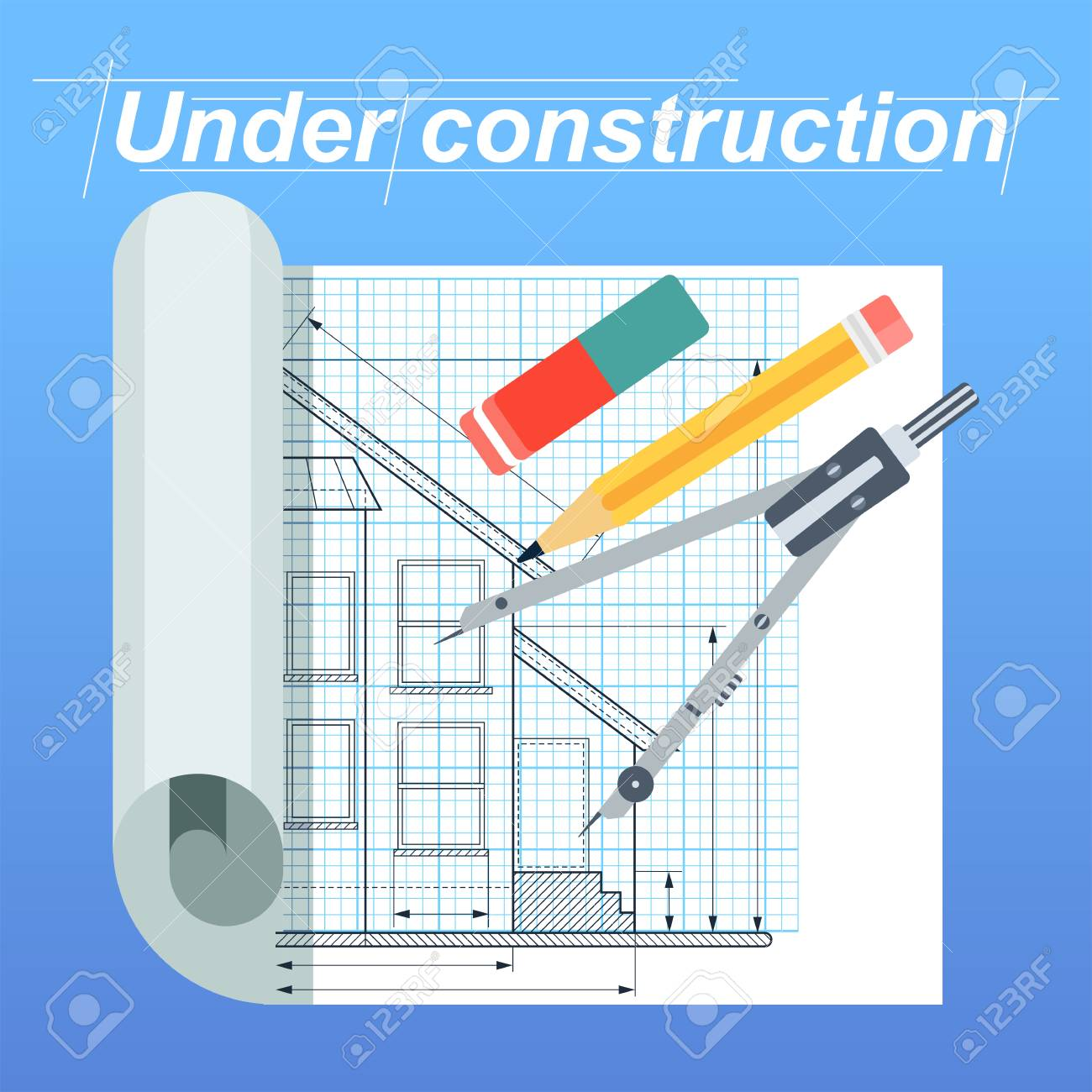 Construction, Architect And Engineering Drawing For Civil Industrial Draft.  Drawing And Sketching On Draft