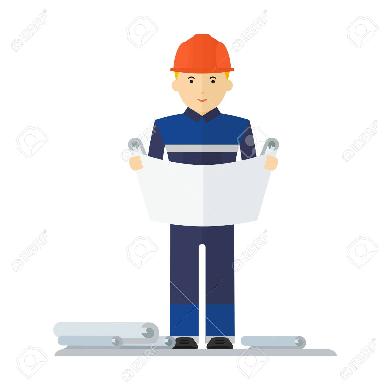 Engineer Character Construction Architect And Engineering Drawing