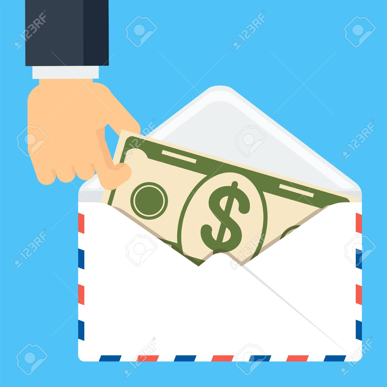 Hand Holding Envelop With Money Symbol Of Wealth Success And