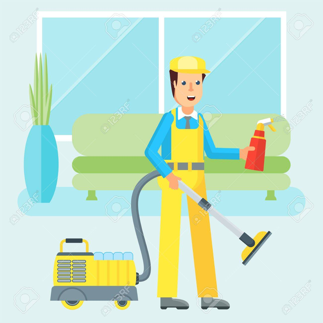 Clean, Worker Of Cleaning Service. Man In A Uniform Cleaning Apartment  Vacuum Cleaner And