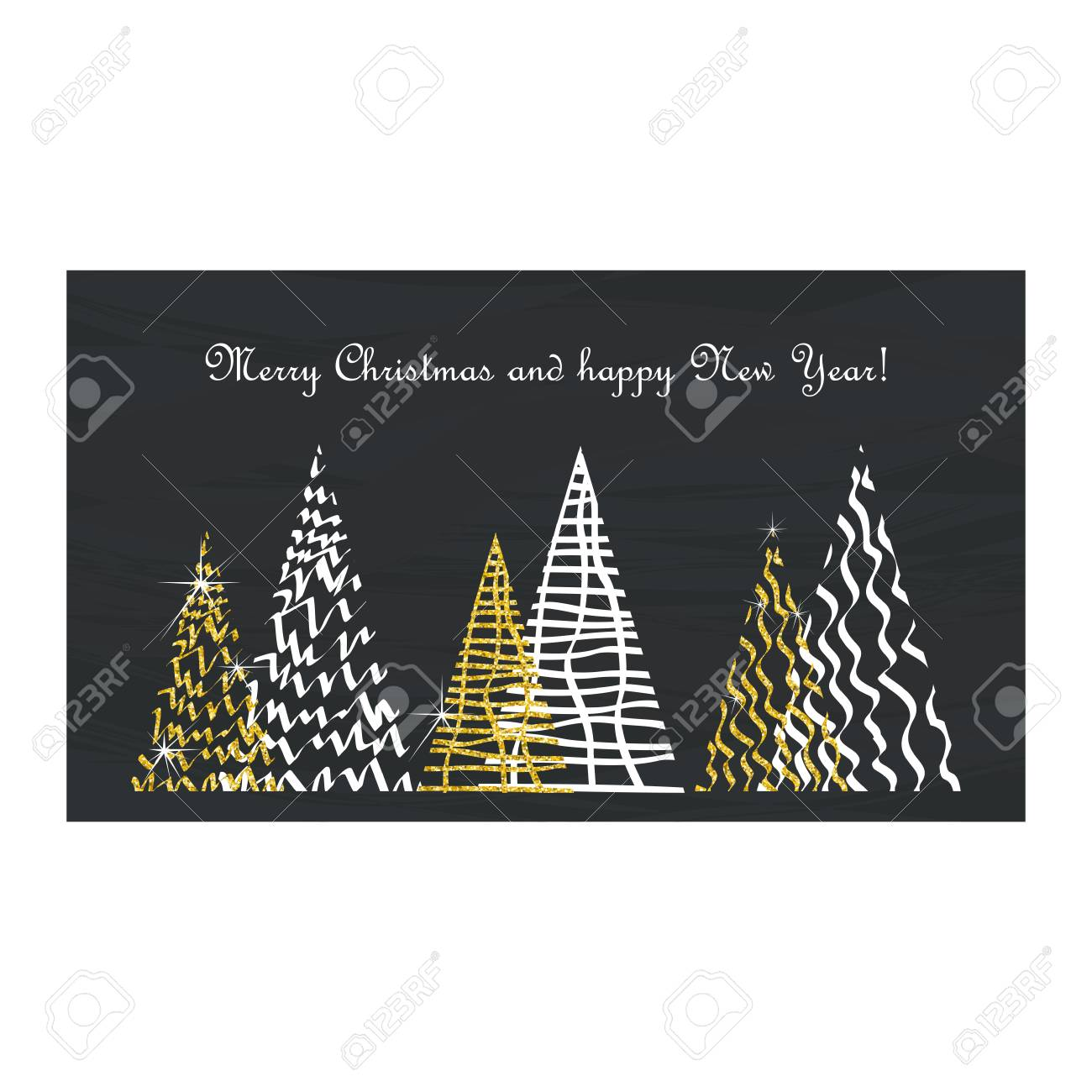 Greeting Christmas Card In A Minimalistic Abstract Luxury Style ...