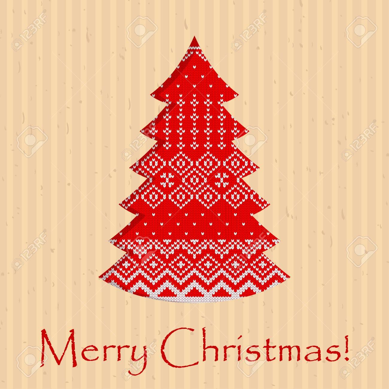 Felicitaciones De Navidad Para Postales.Postal Hecha A Mano Para Ano Nuevo Y Navidad Las Felicitaciones Estan Esculpidas En Papel Artesanal Con Patron Escandinavo Tejido Ilustracion De