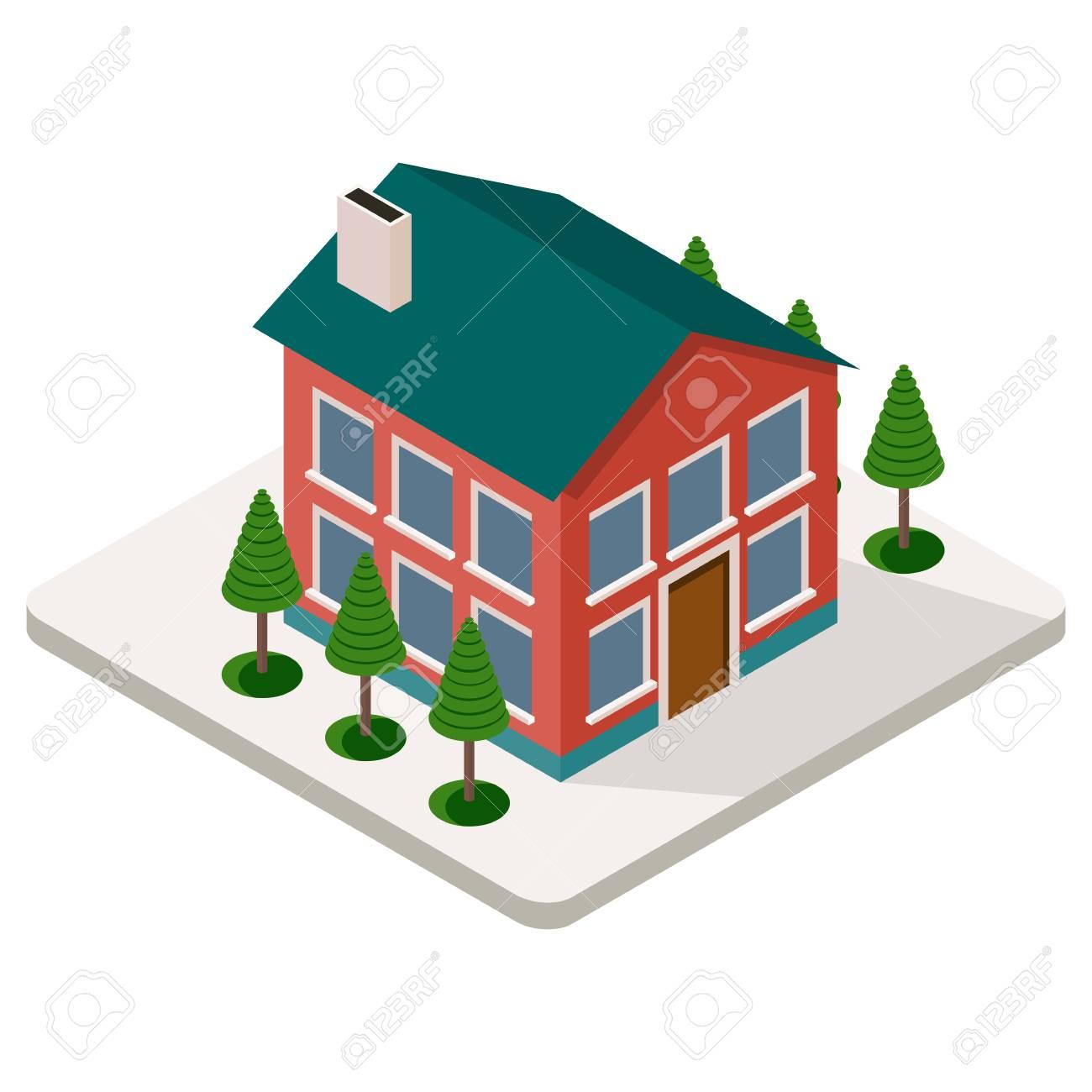 Banque dimages garage sur larrière cour dune maison de campagne en vue isométrique illustration de dessin animé de plat vecteur
