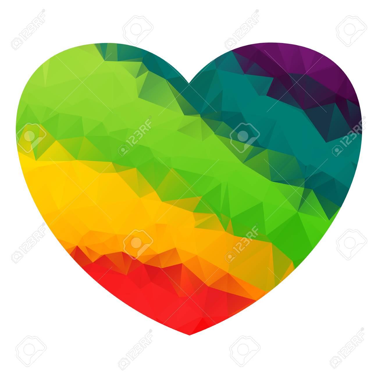 Coeur Polygonal De La Couleur De L'arc en ciel. Drapeau Et Symbole