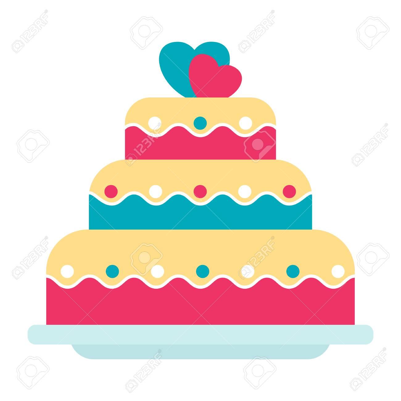 Flat Vector Festive Wedding Cake Illustration. Objects Isolated ...