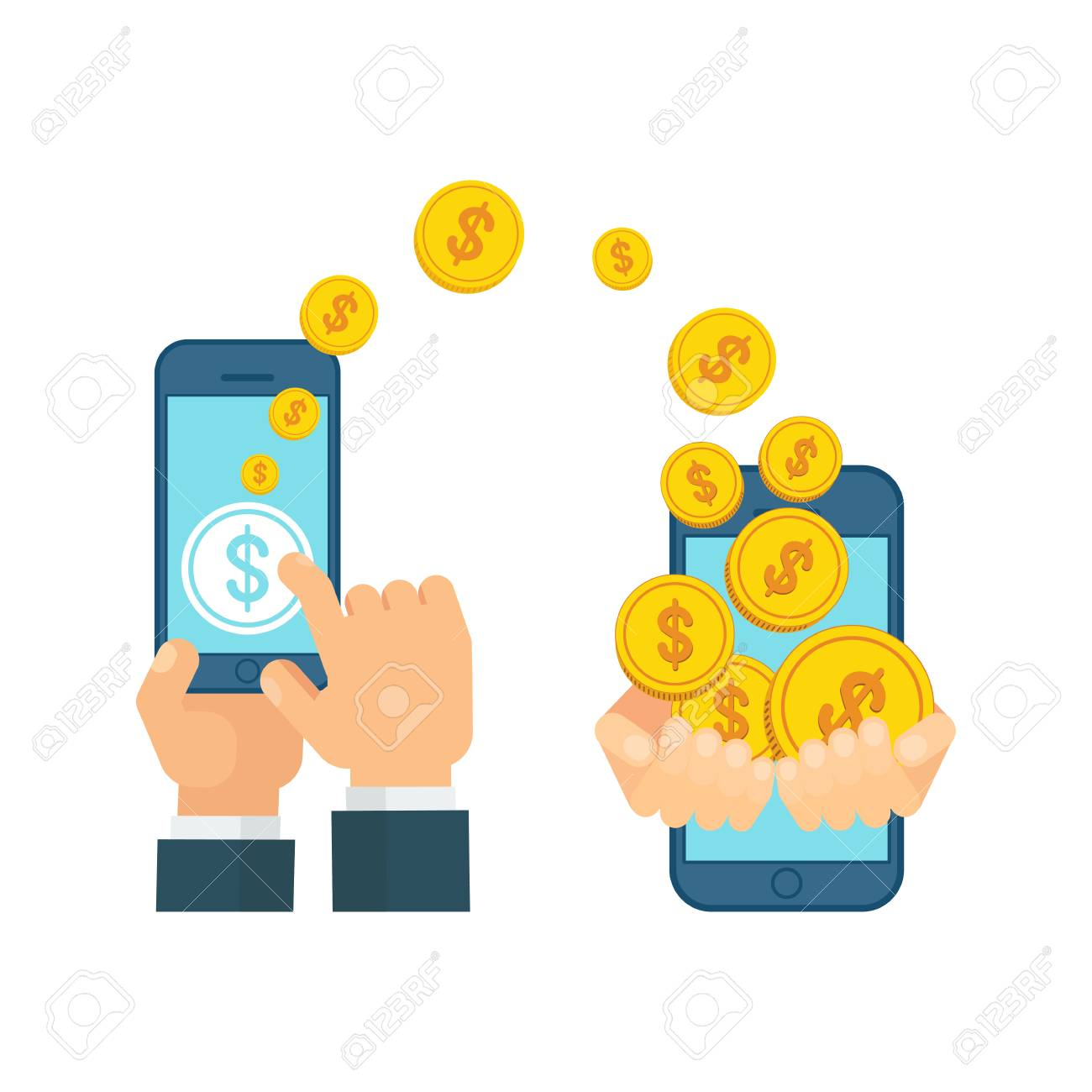money transfer using mobile device smart phone with banking rh 123rf com Boardmaker Send Do Not Send