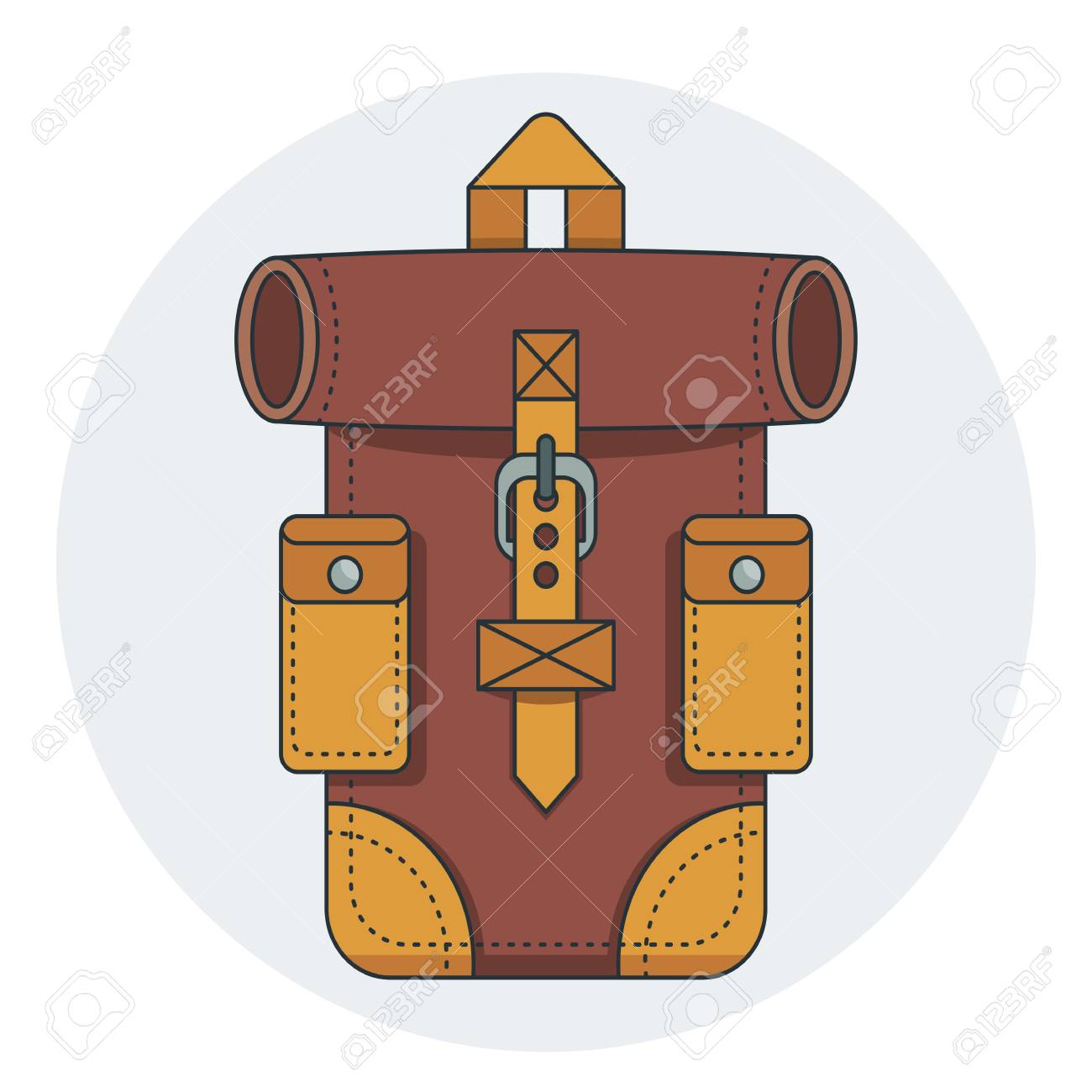 5fa81b36d Fashionable hipster leather backpack. Flat vector cartoon illustration.  Objects isolated on white background.