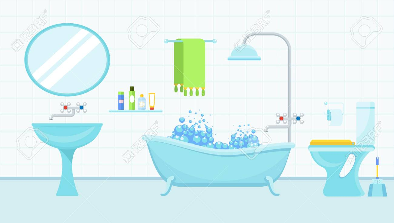 Interior Of A Bathroom With A Toilet And Accessories For Washing Royalty Free Cliparts Vectors And Stock Illustration Image 110170843