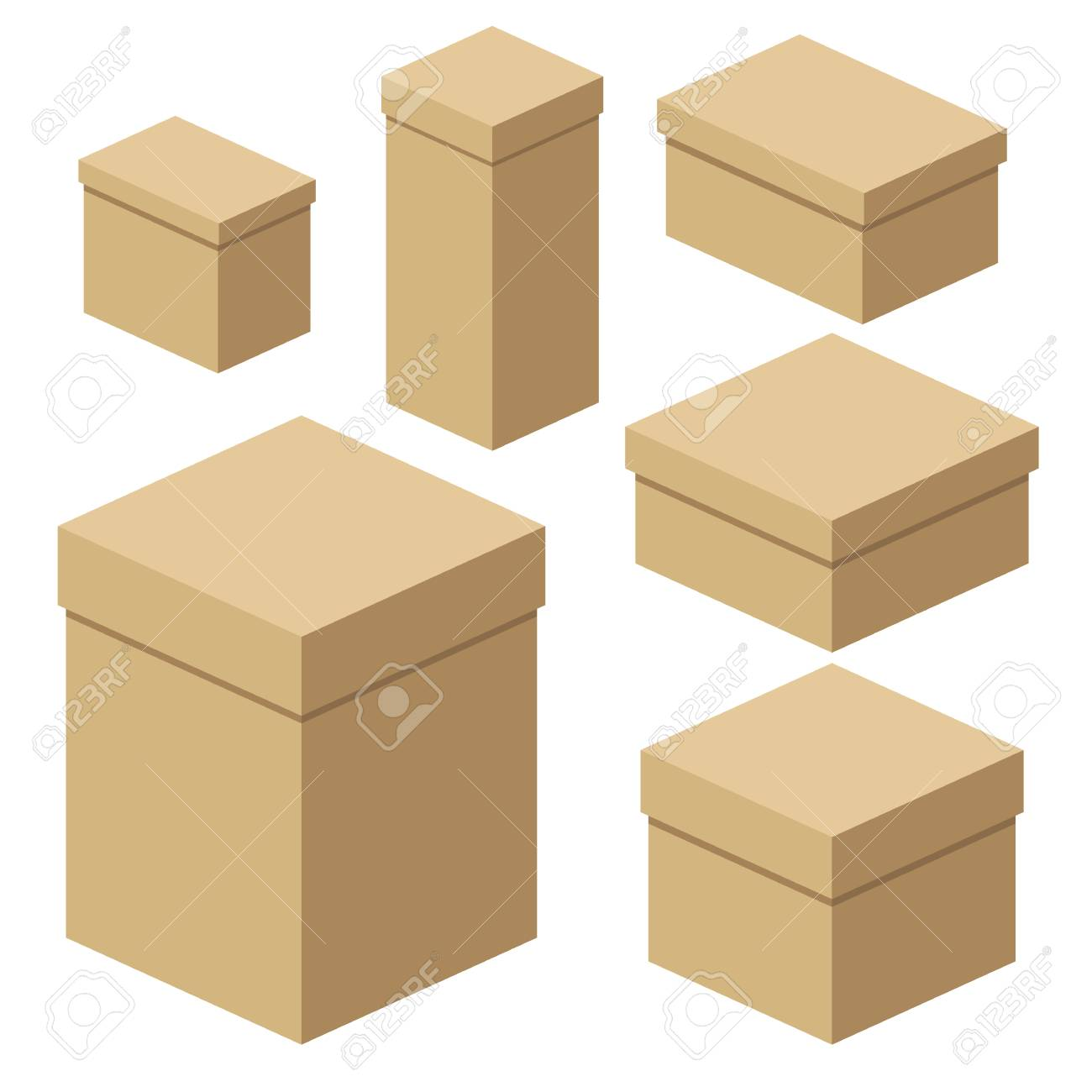 b08d04dd44c Set Of Isometric Craft Boxes Of Different Sizes For Packaging ...