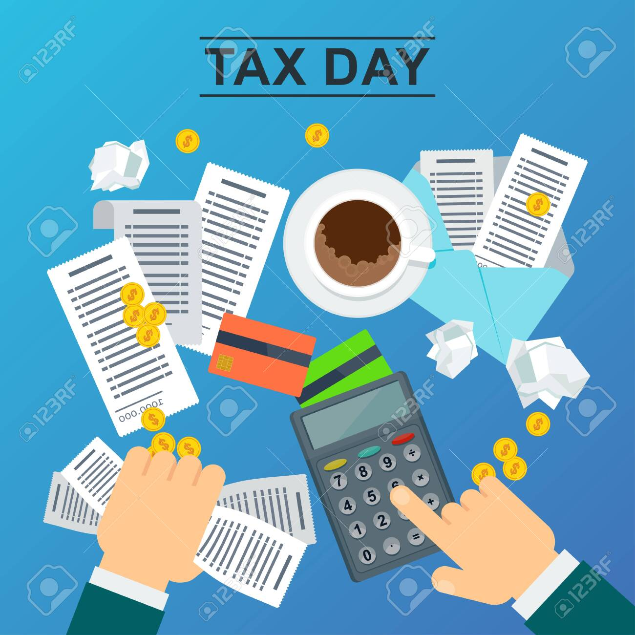 Tax day concept. Man holds accounts in his hand and calculates the cost of a calculator. Flat vector illustration on blue background. - 123180810