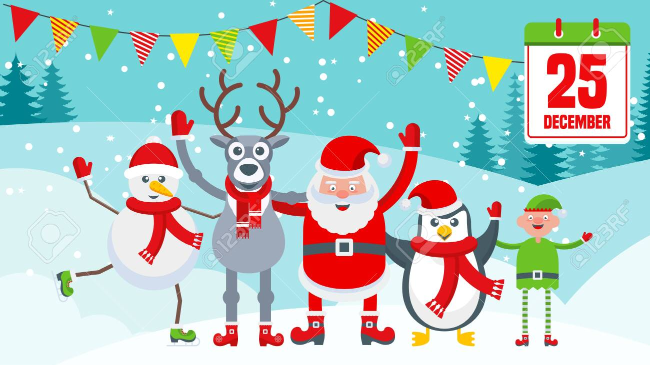 Reindeer sleigh with presents near Santa Claus village. Bright Christmas card with characters for holiday decorations. Tradition Gift, home decoration. Flat vector cartoon illustration. - 134496833