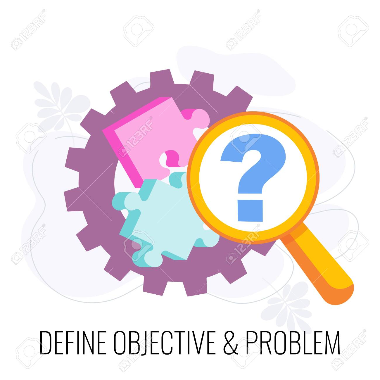 Define objective and problem icon. Market research. - 148814343