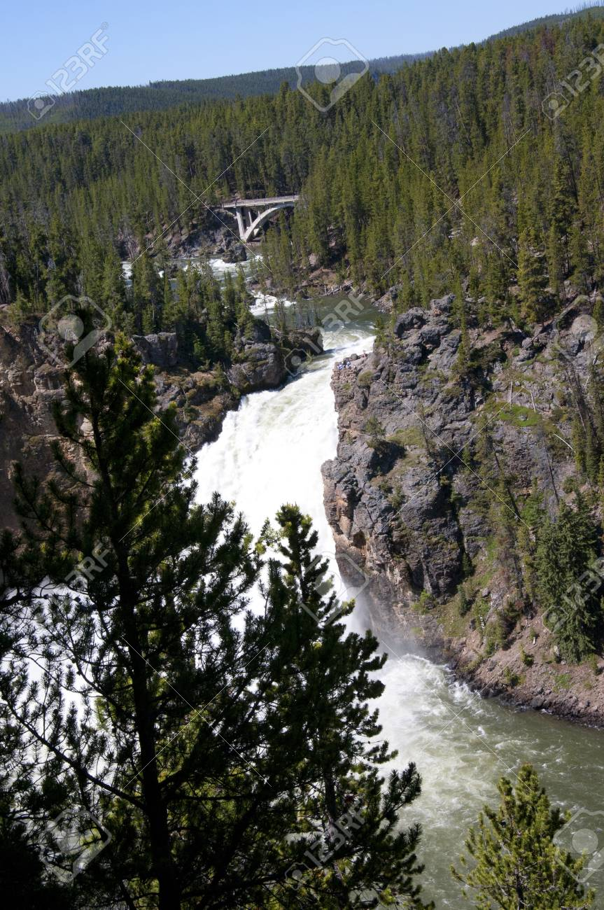 upper falls on yellowstone river wyoming usa stock photo picture