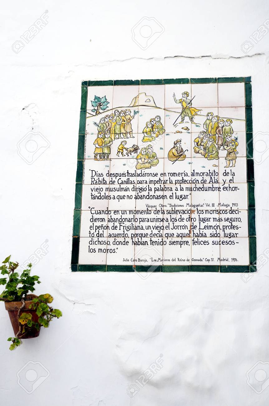 Memorial plaque to the Battle of Frigiliana in 1495  when it was the last moorish village was conquered by King Ferdinand and Queen Isabella Stock Photo - 14543273