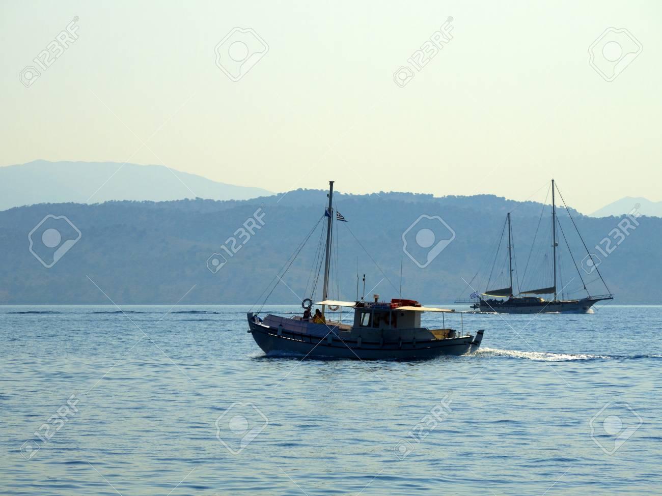 Boat trip to beautiful secluded beach on Island of Corfu Greece Stock Photo - 11349002