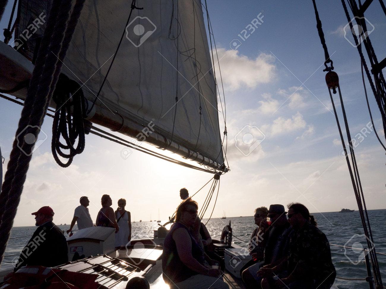 Sailing in sunset off Key West Florida USA Stock Photo - 14543554