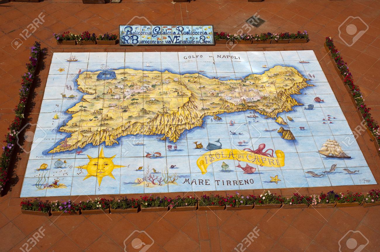 Map of Capri in the pavement in Anacapri Italy Capri Map on
