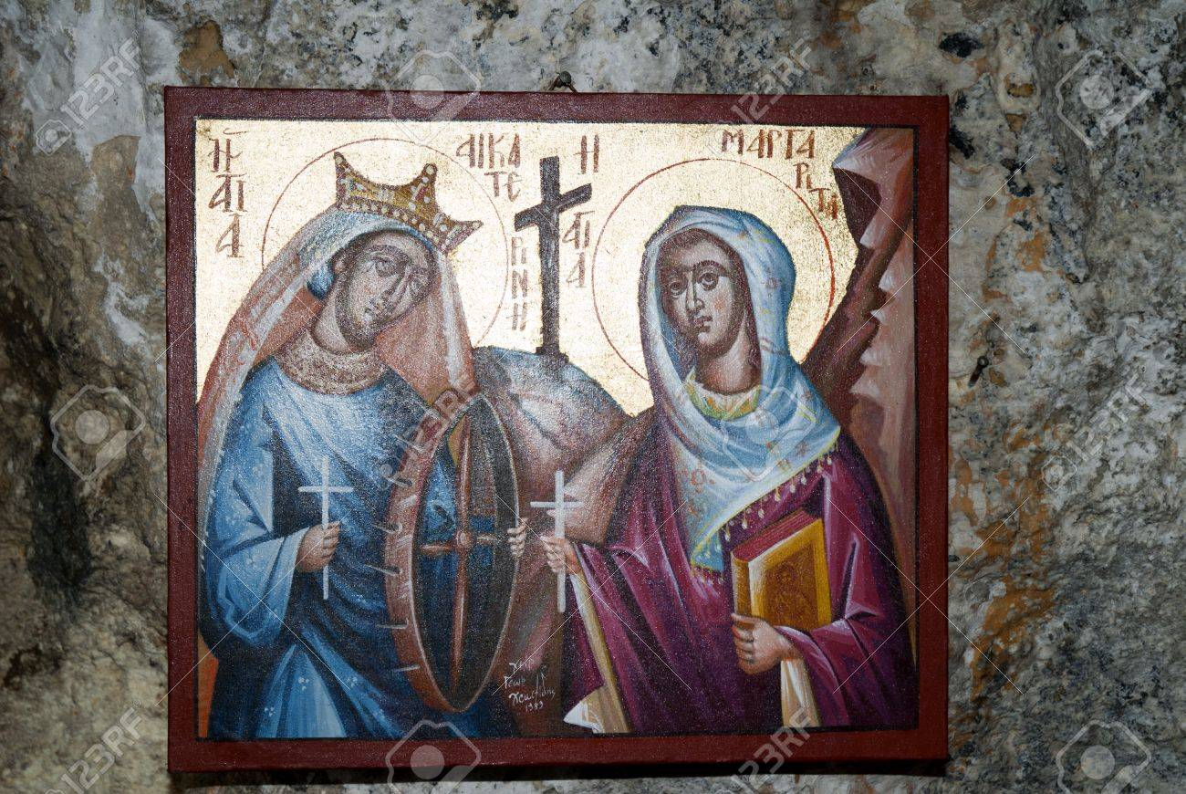 Icon at Small Greek Orthodox Chapel at Rethymno Crete Greece Stock Photo - 14543731