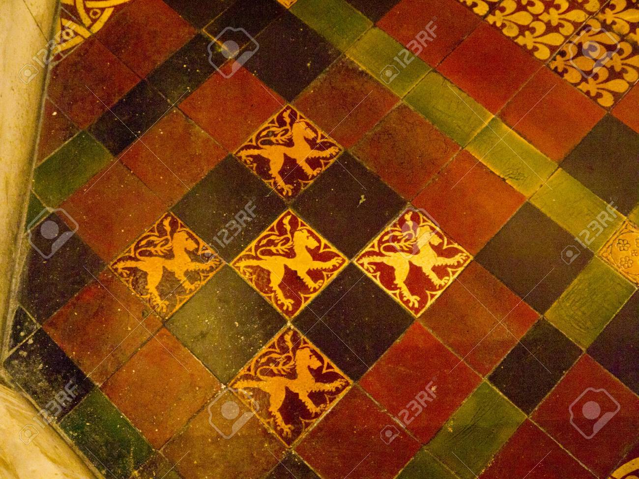 Medieval Floor Tiles In Christ Church Cathedral In Dublin Ireland ...