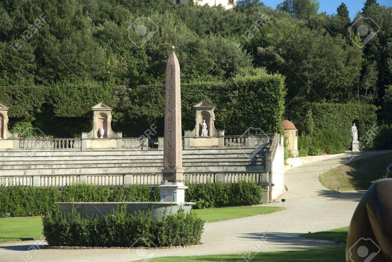 Obelisk In The Boboli Gardens In Florence Tuscany Italy Stock