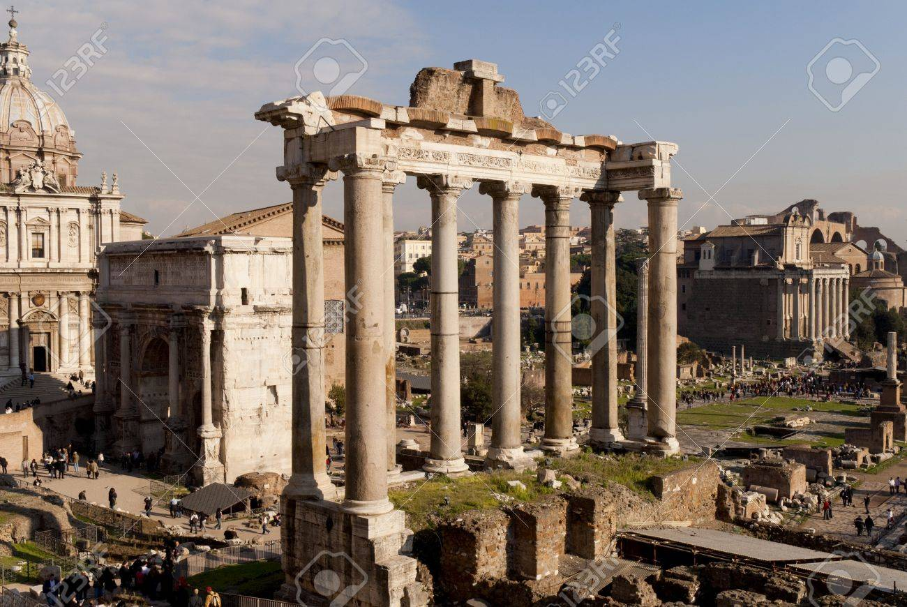 View over the Ancient Roman Forum in city of Rome Italy Stock Photo - 12972286