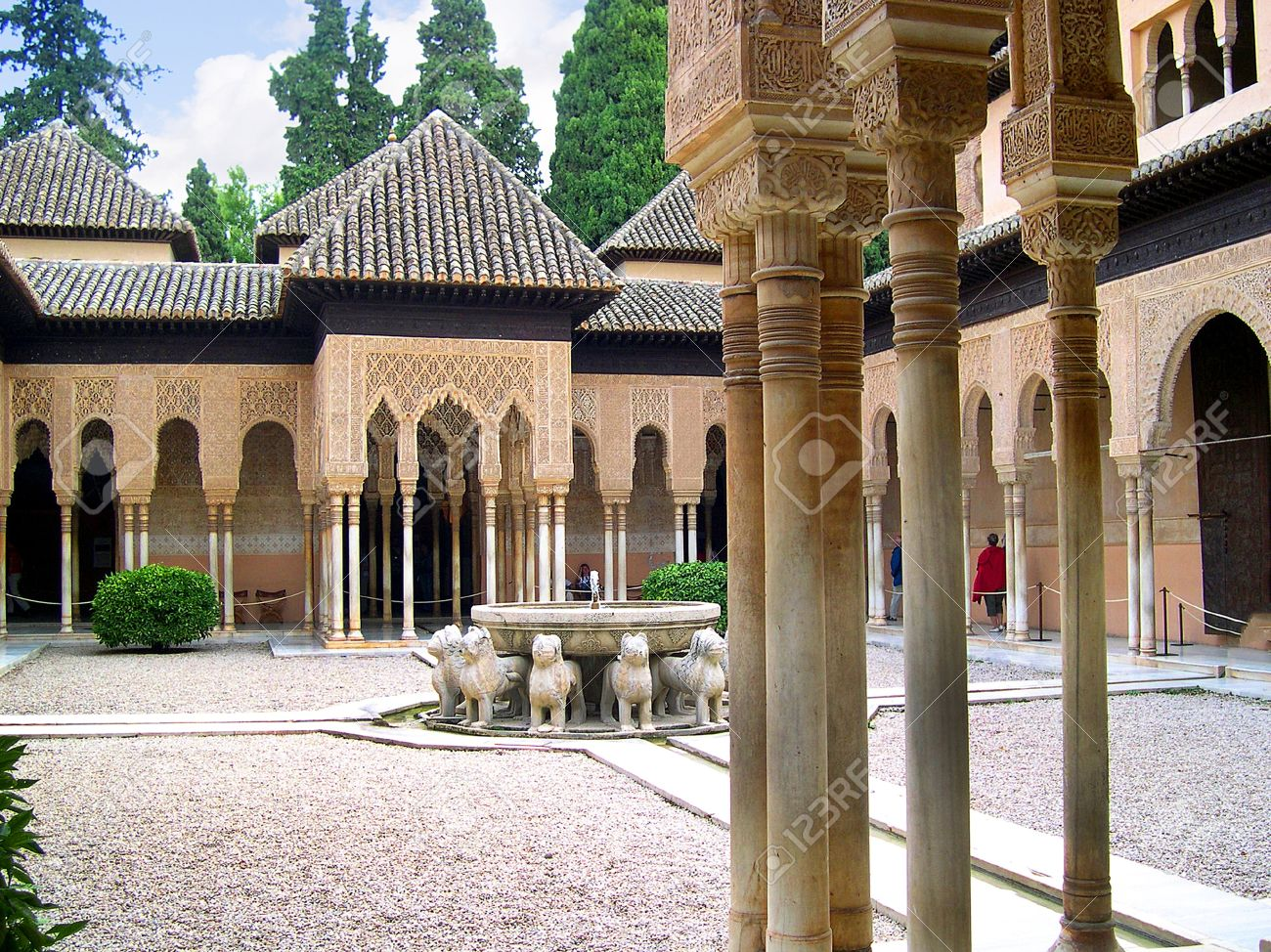 the Court of Lions at the 13th century Alhambra Palace in Granada