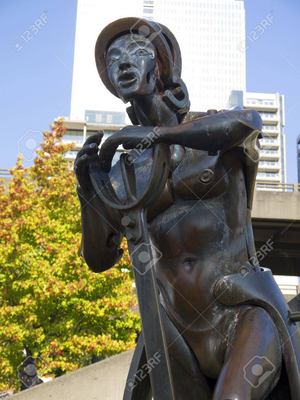 statue of christopher columbus in seattle washington usa stock
