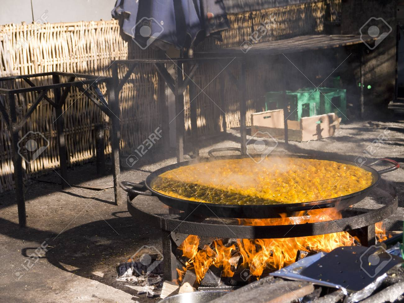Cooking a gigantic paella on the beach at Nerja Andlucia Spain Stock Photo - 17346678