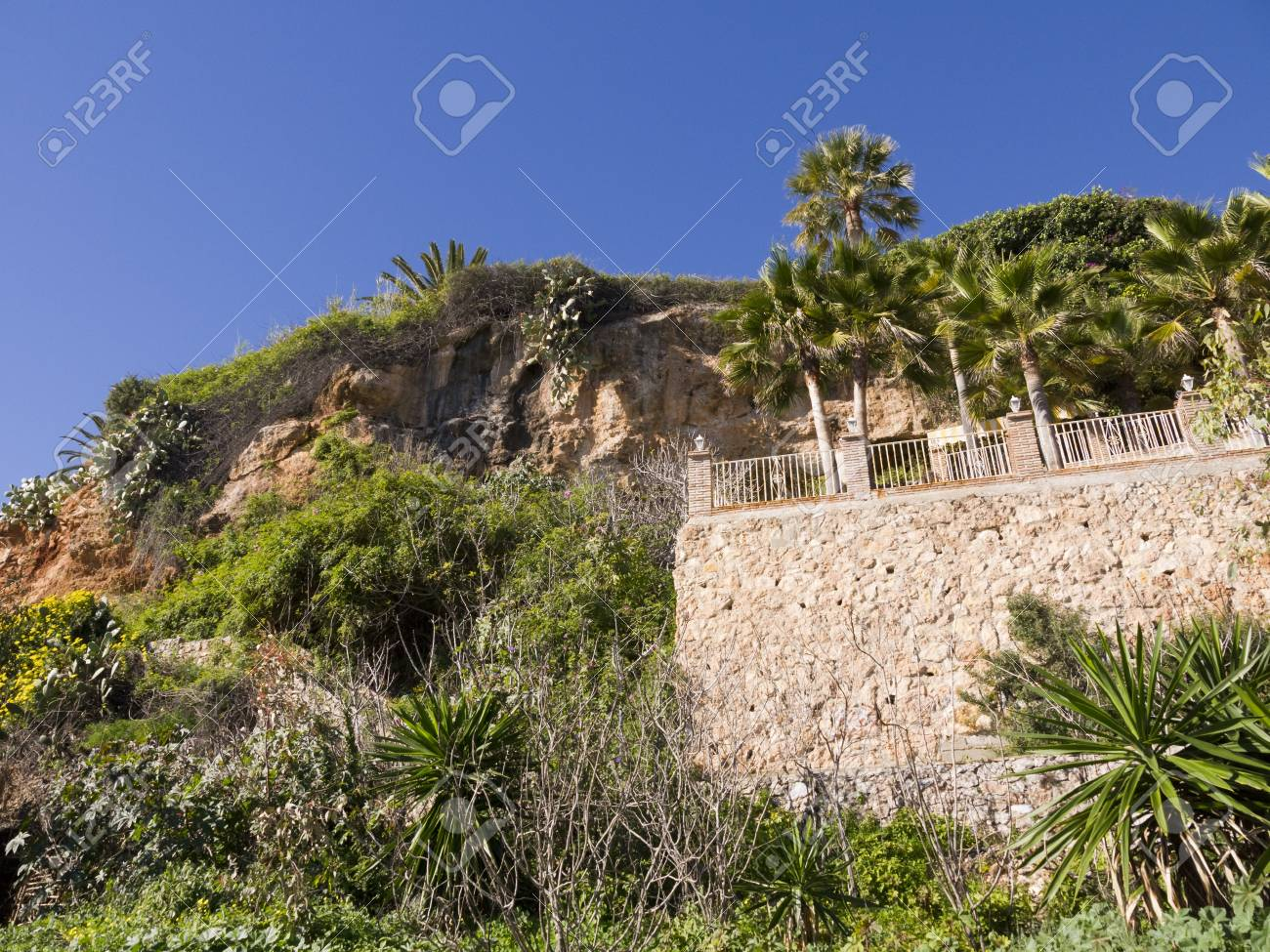 Cliffs behind the Burriana Beach in Nerja Andalucia Spain Stock Photo - 17346784